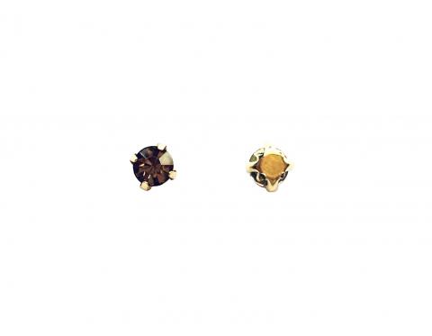 Кристаллы в золотых цапах, стекло, light topaz, 4 мм
