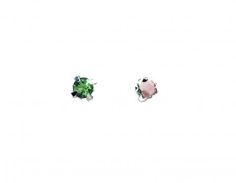 Кристаллы в серебряных цапах, стекло, peridot, 4 мм