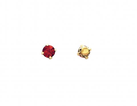 Кристаллы в золотых цапах, стекло, light siam, 4 мм
