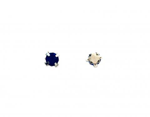Кристаллы в серебряных цапах, стекло, sapphire, 4 мм