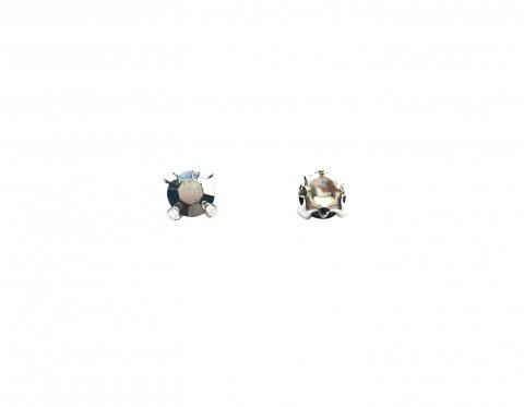 Кристаллы в серебряных цапах, стекло, silver, 4 мм