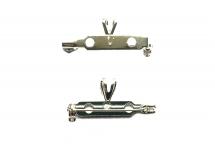 Основа для броши/кулона, 2 в 1, посеребренные олово и сталь, 27*14 мм, бейл 7*4,5 мм