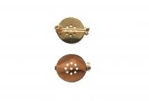 Круглая основа для броши с поворотным механизмом, медь с покрытием розовым золотом, 17 мм