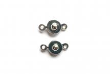 Замочек-кнопка, родиевое покрытие, диаметр 7 мм