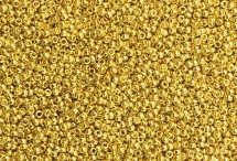 Японский круглый бисер Miyuki №15, золотой с 24-х каратным золотым покрытием (999 проба)