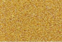 Японский круглый бисер Miyuki №15, прозрачный радужный светло-золотой