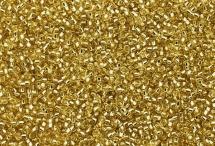 Японский круглый бисер Miyuki №15, светло-золотой с внутренней серебряной линией