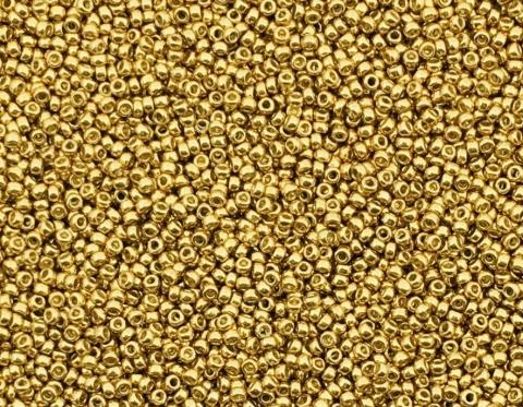 Японский круглый бисер Miyuki Duracoat №15, гальванизированное золото