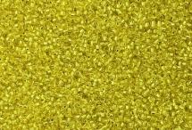 Японский круглый бисер Miyuki №15, жёлтый с внутренней серебряной линией