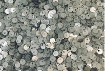 Пайетки со смещенной серединкой, Индия, Silver Grey, 4 мм