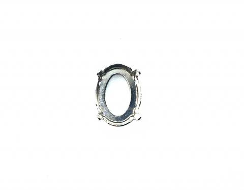 Оправа для овального риволи Swarovski, родиевое покрытие, 14*10,5 мм