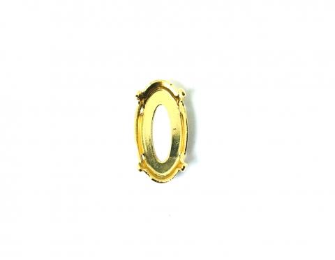 Оправа для удлиненного овала Swarovski, позолота по латуни, 18*9,5 мм