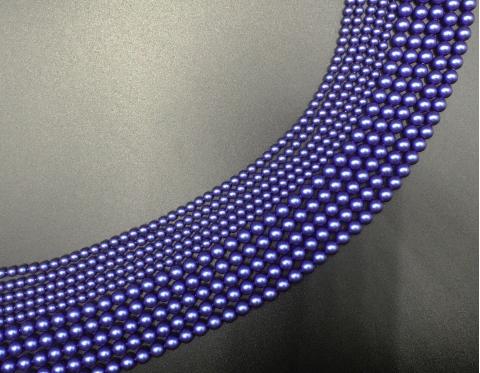 Хрустальный жемчуг, iridescent dark blue pearl, 4 мм