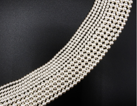 Хрустальный жемчуг, white, 8 мм